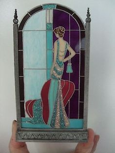 DOLLHOUSE-MINIATURE-Art-Deco-Lady-Stained-Glass-Screen-by-Barbara-Sabia-Red