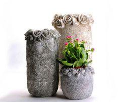 Вазы из цемента и полотенец. Как сделать вазоны/кашпо из бетона и ткани?