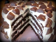 The Ultimate Chocolate Layered Reeses Peanut Butter Cup Birthday Cake