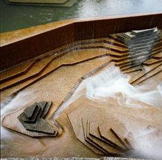 The Lovejoy Fountain which was designed to have water cascading down steps and land into a serene pool