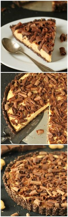 This healthier peanut butter pie is made better for you with natural peanut butter, just a little honey and a #grainfree chocolate crust! #glutenfree #pie