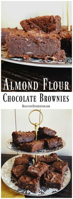 Looking for a gluten-free brownie recipe? These gluten-free mouth-watering Almond Flour Chocolate Brownies are a fudgy-type brownie, made with almonds. Watch the VIDEO below! Gluten Free Treats, Gluten Free Baking, Gluten Free Desserts, Köstliche Desserts, Low Carb Desserts, Delicious Desserts, Almond Flour Brownies, Keto Brownies, Almond Flour Chocolate Cake