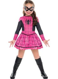 Girls Spider-Girl Costume. This is the one Alysia picked out. She didn't want the red and blue or the all pink, glittery one. She wanted this one!  her.