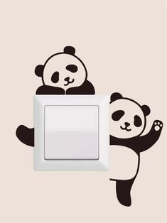 Cartoon Panda Print Switch StickerCheck out this Cartoon Panda Print Switch Sticker on Romwe and explore more to meet your fashion needs! Simple Wall Paintings, Creative Wall Painting, Wall Painting Decor, Diy Wall Decor, Bedroom Wall Designs, Wall Art Designs, Paint Designs, Cute Panda Drawing, Panda Painting