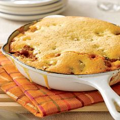 Chili-Cornbread skillet.   You need only five ingredients and one skillet to fix this main-dish recipe. Top the ground turkey and chili bean filling with cornbread batter made from a mix and bake right in the skillet.
