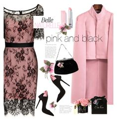 """""""pink and black"""" by katymill ❤ liked on Polyvore featuring Gucci, Versace and twotonedress"""