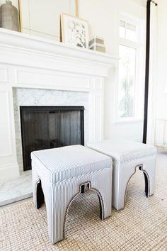 Ticking stripe stools || Studio McGee