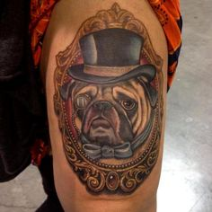 Pug cameo tattoo