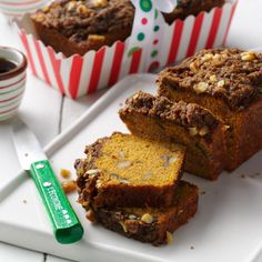 Pumpkin Bread with Gingerbread Topping Recipe -This yummy pumpkin bread won first prize at the Acorn Pantry Bread Contest. It melts in your mouth and easily doubles for gift-giving. —Renee' Nanez, Frederic, Wisconsin