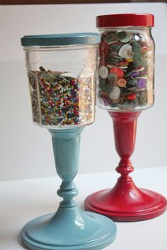 Upcycling: Pillared Jar Storage    ~ Another project that I see being a great gift idea - fill with candy or gum balls. They can also be personalized with the recipient's  name.  They don't have to be expensive, as you can re-purpose items you pick up at second-hand stores!