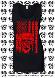 Ladies Demon Flag Vest in either Black or Red sizes Sm - 2XL by Plundering Productions #HeavyMetal #Punk #HardRock #Rocker #Biker #Goth #DEmon #Devil #Satan