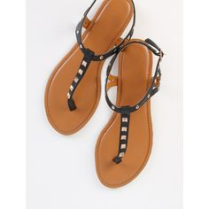 7fd8f86804510 Studded Thong Sandals BLACK ( 18) ❤ liked on Polyvore featuring shoes