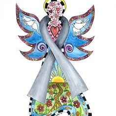 Brain Cancer Ribbon Angel ~ Peace, Love, Faith and Hope