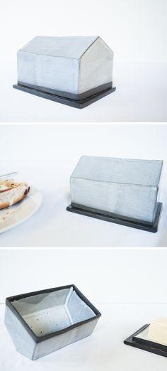 Ceramic house butter dish in blue glaze