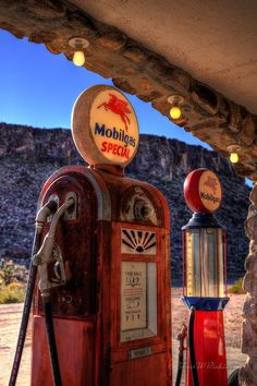 Backlit Gas Pumps on Route 66 in Cool Springs, Arizona in HDR Old Route 66, Route 66 Road Trip, Historic Route 66, Travel Route, Road Trip Usa, Usa Roadtrip, Travel Oklahoma, Road 66, Old Gas Pumps