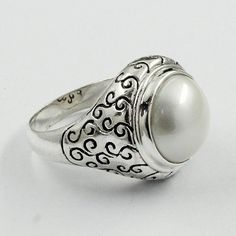 Jaipur Silver  Pearl Stone Rava Design 925 Sterling Silver Ring  Note : 925 Sterling Silver Ring  Sterling Silver 925 Stamped  Stone Used : Pearl Stone  Product Weight : 8.6 gm  Product Size : 8 US  W