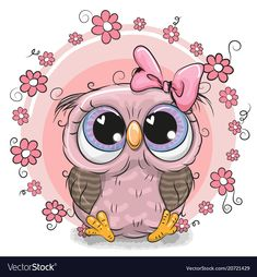 Greeting card Cute Owl with flowers. Greeting card Cute Cartoon Owl with flowers stock illustration Cartoon Cartoon, Kids Cartoon Characters, Cute Cartoon Animals, Cartoon Owl Drawing, Cute Cartoon Pictures, Owl Illustration, Tatty Teddy, Creative Pictures, Owl Art