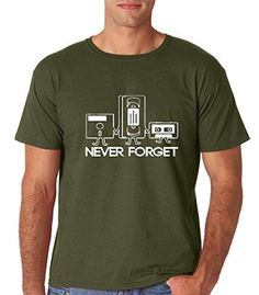32600e2211 Never Forget - Retro Guys Funny Sarcastic - Music Novelty Graphic T-Shirt  for Men - 100% Cotton (Medium, Military Green)