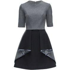 LATTORI Metalic Origami Dress ($349) ❤ liked on Polyvore featuring dresses, metallic dress, metal dress and origami dress