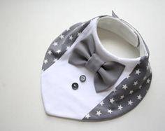 Baby Lätzchen junge, Taufe Lätzchen, Hemd Fliege Lätzchen Baby Bandana Lätzchen abnehmbar Fliege, Baby-Dusche-Geschenk für Neugeborene, Säugling grauen Sternen