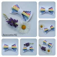 Embroidered rainbow chevron bowtie For groom gift White pretied bow tie Cross stitch Gift idea for him Colorful bowtie For boysFREE SHIPPING by accessories482 on Etsy