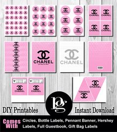 $14.95 Printable Chanel Party Decorations in pink & black | chanel party favors | chanel party supplies | chanel theme http://matchmypartytheme.com/item/pink-chanel-party-favors