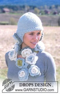 DROPS Hat with flower attachments and crochet flower scarf in Eskimo ~ DROPS Design