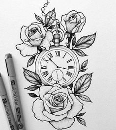 Pocket watch design for a client by - Tattoo Designs Men Hai Tattoos, Kunst Tattoos, Rose Tattoos, Flower Tattoos, Body Art Tattoos, Sleeve Tattoos, Clock Tattoos, Tatoos, Time Clock Tattoo