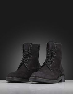Harald boots-Men's boot in black nubuck with calf lining. Features lace-up fastening with round waxed laces and metal zip fastening at one side. Heavy rubber outsole with blake sole. Heavy Rubber, Leather Interior, Calves, Men's Shoes, Combat Boots, Lace Up, Wedges, Zip, Metal
