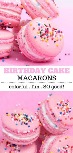 Learn how to make macarons! These birthday cake macarons are the perfect dessert for celebrations or for an anytime treat! They are pretty and pink and made with a birthday cake flavored filling and topped with sprinkles! Mini Desserts, Delicious Desserts, Desserts For Birthdays, Healthy Birthday Desserts, Easy Desserts, Macaron Filling, Macaron Flavors, Birthday Cake Flavors, Birthday Treats