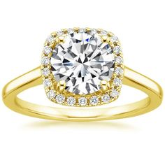 Lab Created French Halo Diamond Engagement Ring - 18K Yellow Gold