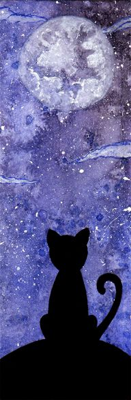 Another cat and moon bookmark by Yami-Pimea Cat Applique, Moon Painting, Decoupage Vintage, Cat Silhouette, Panel Quilts, Art Memes, Warrior Cats, Cute Animal Pictures, Easy Paintings