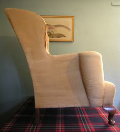 Elegantly shaped Antique 19th Century Victorian Wingback Armchair to recover from Hutchisonantiques.com