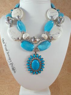 Cowgirl Necklace Set Chunky Sky Blue and White by Outwestjewelry