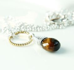 Tigers Eye Necklace Mixed Metal Jewelry Gemstone Jewelry by Hildes