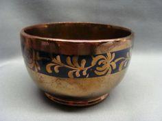 Antique English Copper Lustre Luster Sugar Bowl W Cobalt Blue Dec. D