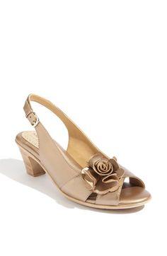 Gold blush sling back shoe flower detail