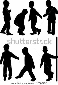 little boy silhouette little boy silhouette isolated on white stock vector