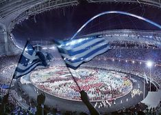 Opening Ceremony of the 2004 Athens Olympic Games Olympic Venues, Olympic Team, Olympic Games, 2004 Olympics, Summer Olympics, Classical Athens, Karpathos Greece, Greek Flag, Olympics Opening Ceremony