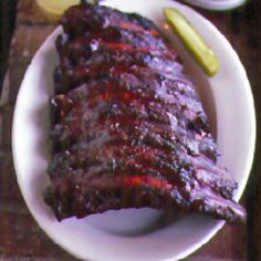 Beef Ribs Recipe - Saveur.com  After the butcher cuts a rib roast off the bone, he is left with a seven- or eight-bone slab of ribs. These beef ribs are chewier than pork ribs, but can be succulent if cooked correctly. This is the way it's done at the K.C. Masterpiece restaurants.