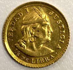 1912 Gold 1/5 de Libra' Peru Coin BU UNC