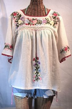 """""""La Marina"""" Embroidered Mexican Style Peasant Blouse -Off White"""