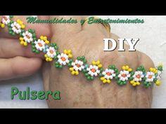 Daisy Bracelet, Crochet Bracelet, Beaded Bracelets, Jewelry Model, Diy Jewelry, Jewelry Making, Beaded Jewelry Patterns, Bracelet Patterns, Macrame Patterns