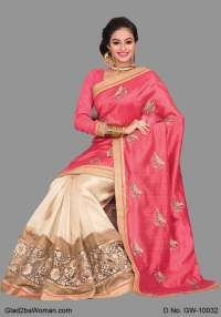 Sweet Pink And Beige Coloured Green Silk Saree