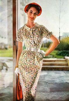 myvintagevogue: Simplicity Pattern Book Summer 1954 Nancy Berg, photo by Lillian Bassman 50s Glamour, Vintage Glamour, Vintage Beauty, 50s Dresses, Vintage Dresses, Vintage Outfits, Vintage Clothing, Moda Vintage, Vintage Vogue