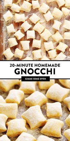 The easiest homemade gnocchi recipe -- made with just 4 main ingredients in 20 minutes (no potatoes required!), and just as light and delicious as ever! Potato Gnocchi Recipe, Gnocchi Recipes, Pasta Recipes, Dinner Recipes, Cooking Recipes, Quick Recipes, Cooking Ideas, Dinner Ideas, Food Ideas