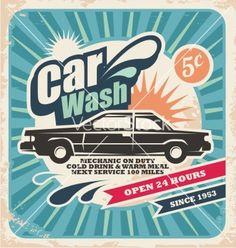 Retro car wash poster vector on VectorStock®