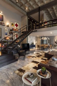 Loft furniture and furnishings - a more and more gaining power fashion - loft leather sofa interior staircase carpet candlestick - Loft Design, Design Case, House Design, Shelf Design, Wall Design, Industrial House, Industrial Interiors, Industrial Style, Vintage Industrial