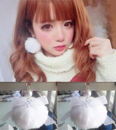 Fluffy ball earrings lolita bow pearl 1 PCS