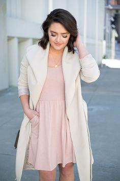 Pink Skater Dress + Wrap Coat via @maeamor